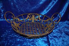 Oil Rubbed Bronze Wired Basket with Fluer de lis