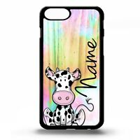 Cow print cartoon farm animal cute graphic personalised name phone case cover