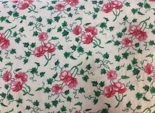 """Vintage Quilting Fabric Traditions 1991 NTT Inc. 44"""" x 60"""" Red Flowers Cream"""
