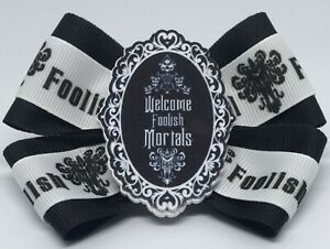 """Girls Hair Bow 4"""" Wide The Haunted Mansion Welcome Foolish Mortals Barrette"""