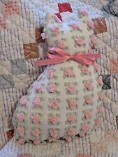Rare Vintage Morgan Jones Pink Rosebud Chenille Bedspread Kitty Cat Pillow