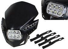 Black LED Head Light Motorcycle Dual Sport Street Fighter Naked Off Road Lamp
