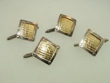 Sterling Silver & 18Kt Gold Filled Studs! Vintage 1993 Set Of Four Signed Custom