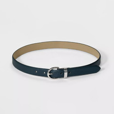 Women's Saffiano Bombe Belt - A New Day Dark Green