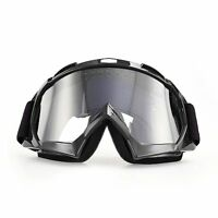 MOTORCYCLE GOGGLES ANTI-FOG/UV EYE PROTECTION FITOVER GLASSES COLORED BLACK