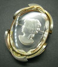 Stunning Clear Plastic Intaglio Cameo Brooch Pin Reproduction Victorian Lady