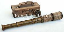 Antique Brass Leather Wrapped DOLLOND LONDON Marine Spyglass Handheld Telescope