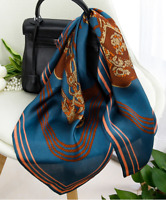 "100% Mulberry Silk 25"" Scarf Women neckerchief Shawl Wrap cyan blue red QS153-1"