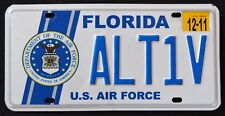 "FLORIDA "" U.S. AIR FORCE SEAL EAGLE ALT1V"" FL Miliary Specialty License Plate"