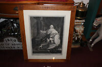 Large Louis XVIII Engraving Dated 1819 King On Throne Mission Arts Frame