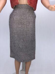 Vintage Barbie Sweater Girl #976 / Knitting Pretty #957 ~ Gray Wool SKIRT EUC