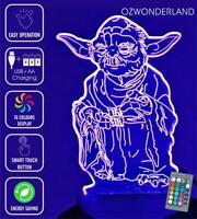 MASTER YODA Star Wars 3D Night Light 16 Colour REMOTE CONTROL Battery USB Lamp