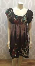 Priya Concepto Indu Dress Sz L Brown Floral On Or Off Shoulder Knee Length New