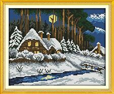 NKF Cross Stitch Kit, Winter forest, 14CT Counted, 28cm X 24cm