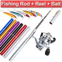 ❤️ Mini Fishing Rod Bait Telescopic Portable Pocket Aluminum Alloy Pen Pole Reel