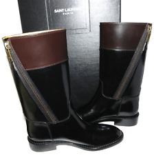 $1395 Yves Saint Laurent Paris Cavaliere Riding Boot Black Flat Bootie 35.5 Y...