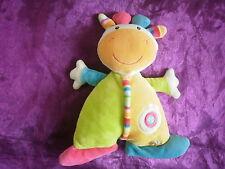 Doudou vache girafe jaune vert orange bleu rose Baby Sun