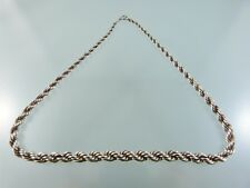 "VINTAGE TAPERED ROPE TWIST SILVER .835 NECKLACE 16.5"" BY AA"