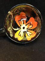 Midcentury Pottery Handmade Tea Coffee Cup  Flower Black Glazed Art