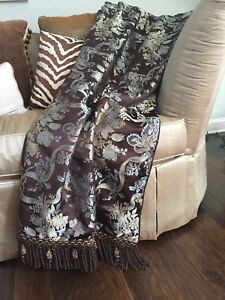 """THROW BLANKET 50x70 Brocade Rope Fringe by """"Rodeo Home"""" Brown"""