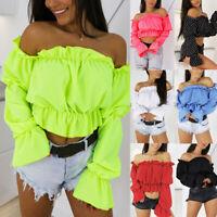 2019 Hot Women Off Shoulder Crop Top Lantern Sleeve Waist Beach Blouse