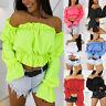 2019 Hot Women Off Shoulder Crop Top Lantern Sleeve Waist Beach Chiffon Blouse