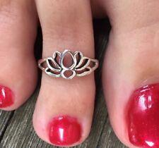 Sterling Silver 925 Lotus Flower Toe Ring Band Open Adjustable Beach Feet Boho