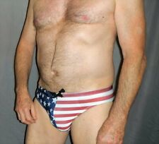"USA Stars & Stripes Nylon Swim Brief.  Small (31-34"")"