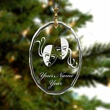 Glass Oval Ornament, Drama Mask Comedy Tragedy, Personalized Engraving Included