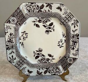 """Two's Company Brown Transferware Octagon Floral Wall Dinner Plate 9.5"""""""