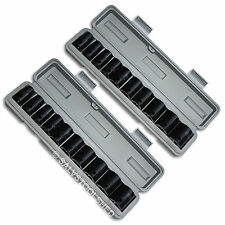 "1/2"" Heavy Duty Impact Socket Set in Cases Metric & SAE Sockets Air Tools"