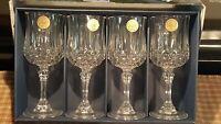 Longchamp 24% Lead Crystal D'Arques 4 Wine Glasses 5 3/4 oz. New in Box