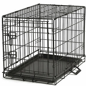 ProSelect Foldable Pop Up Highly Secure Easy Durable Small Wire Dog Crate, Black