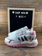 Adidas NITE Jogger Womens Running shoes white/ pink sneakers EG7942- NEW