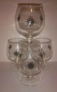 """Atomic 4 Vintage Clear & Black Compass Design Brandy Snifter Glasses small 3.5"""""""