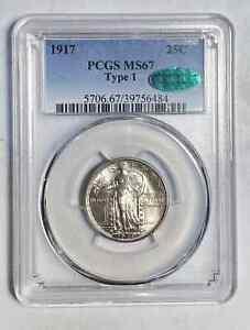 Quarter Dollars Standing Liberty Quarter 1917 P PCGS MS-67  CAC Type 1