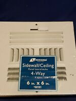 Accord ABSWWH466 Sidewall/Ceiling Register Vent with 4-Way Design, 6 x 6 NEW