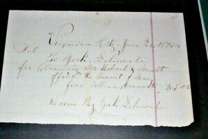 #CHK236,Handwritten Receipt Virginia City NV 1878 For Cleaning