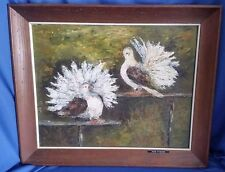 Vintage Longtail Art Birds Oil Painting on Board Framed Pa Artist Signed Dated