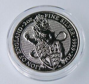 2016 Queen's Beast Lion of England 2 oz .999 Silver UK Coin BU in cap