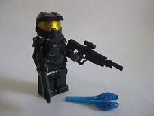 Lego Custom HALO MASTER CHIEF Spartan Minifigure -Black- W/ BRICKARMS Rifles