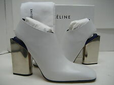$1450 NEW CELINE US 8.5 EUR 39 Off-White Leather Booties High Mirror Heels Shoes