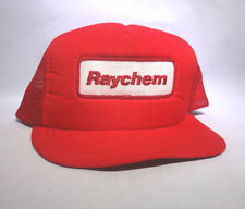 Vintage Red Snap Back Mesh Trucker Hat White Raychem Patch Adjustable 1980's