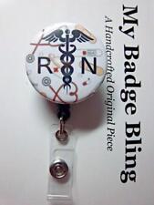 RN Registered Nurse Medical Theme Background ~ Retractable Reel ID Badge Holder