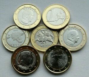 1 Euro coins Monaco San Marino  Luxembourg Estonia Latvia Lithuania Unc