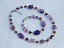 Chunky Amethyst Gemstones w/Faceted Amethyst and Clear Faceted Beaded Necklace