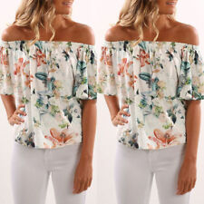 Womens Off Shoulder Floral Chiffon Blouse Shirts Tops Loose T Shirt Plus Size