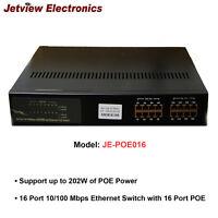 NEW!!! Jetview JE-POE016 16 Port 10/100 Mbps Ethernet Switch/202W of POE Power