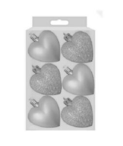 6 Heart Shaped Bauble Hearts Christmas SILVER Ornament Hanging Tree Decoration