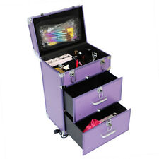 """19"""" Salon Spa Rolling Makeup Case Organizer Trolley 2 Drawers Cabinet With Keys"""